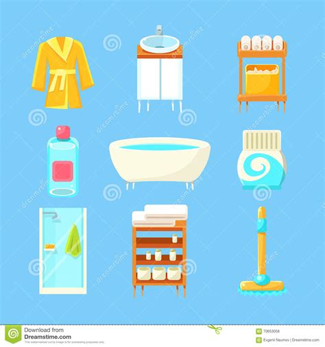 bathroom things bathroom things set stock vector image of bright bath