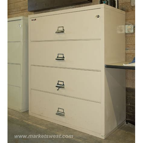 Fireproof Lateral File Cabinet 4 Drawer Size Fireproof Lateral File Cabinets Pre Owned Beige Finish