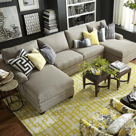 Cu 2 Upholstered Double Chairse Sectional Two Sofa Living Room Design