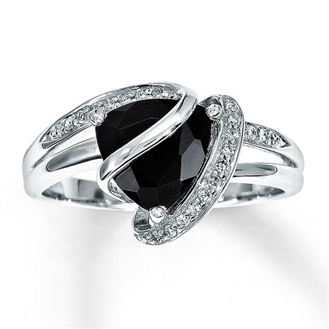 Verlobungsringe Schwarz Silber by Black Onyx Ring 1 10 Ct Tw Diamonds Sterling Silver