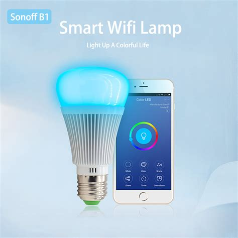 turn on house lights remotely sonoff b1 smart dimmable e27 led l rgb color light
