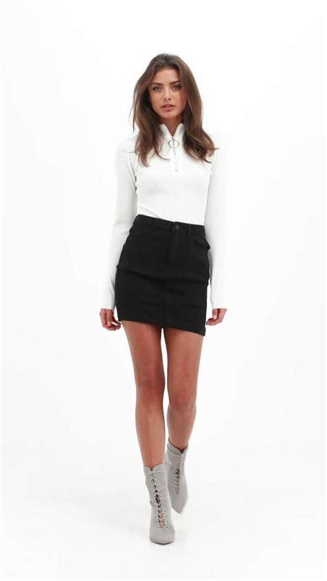black denim stretch mini skirt missguided
