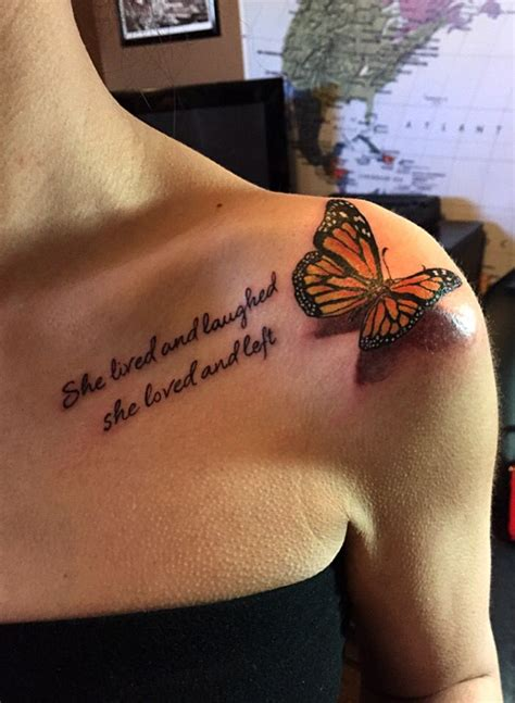 tattoo 3d quotes 3d butterfly tattoo with quote