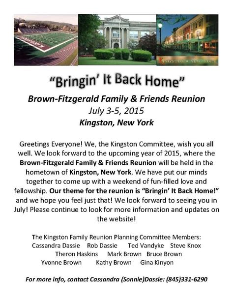 family reunion welcome letter template brown fitzgerald family and friends reunion