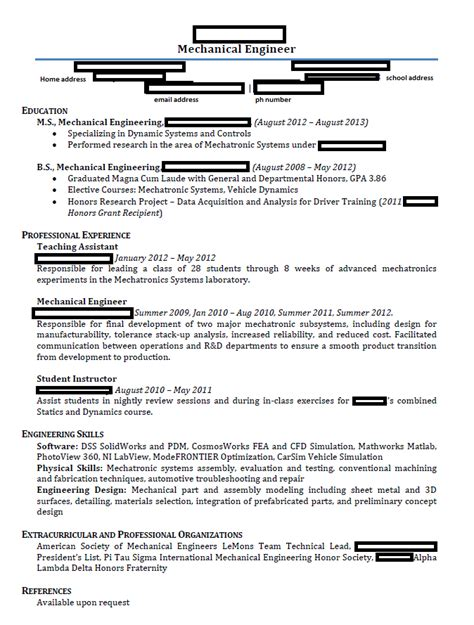 mechanical engineering student resume resume template 2018