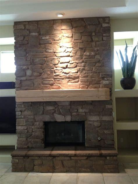 beautiful cultured stone fireplace  designed