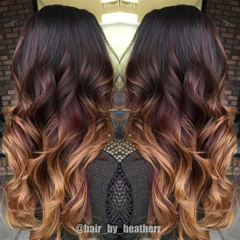 photos brown hair with blpnde ends dark chocolate to red to copper blonde ends beautiful