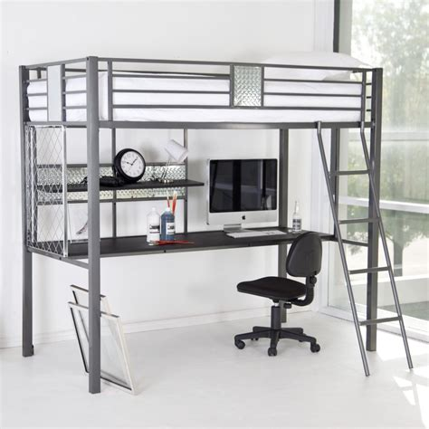 Modern Silver Polished Iron Loft Bunk Bed With Gray Metal Bunk Bed With Computer Desk
