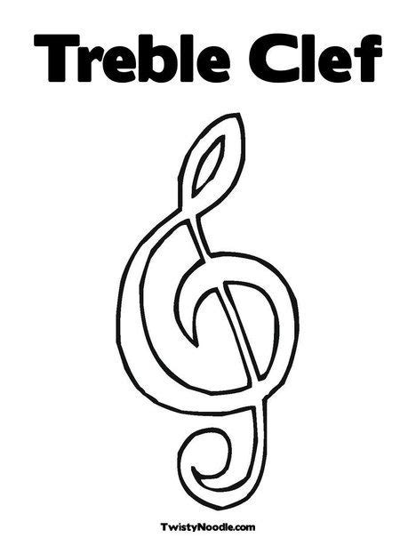 elementary music coloring pages treble clef coloring page from twistynoodle com