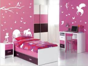 Small bedroom ideas for teen girls room with pink wall paint colors