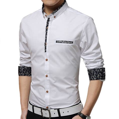Blouse Jumbo Menmen shirt 2017 new slim casual sleeved shirt solid color floral fashion hit color shirt