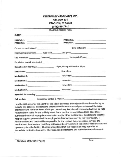 Veterinary Boarding Forms Pictures To Pin On Pinterest Pinsdaddy Veterinary Release Form Template
