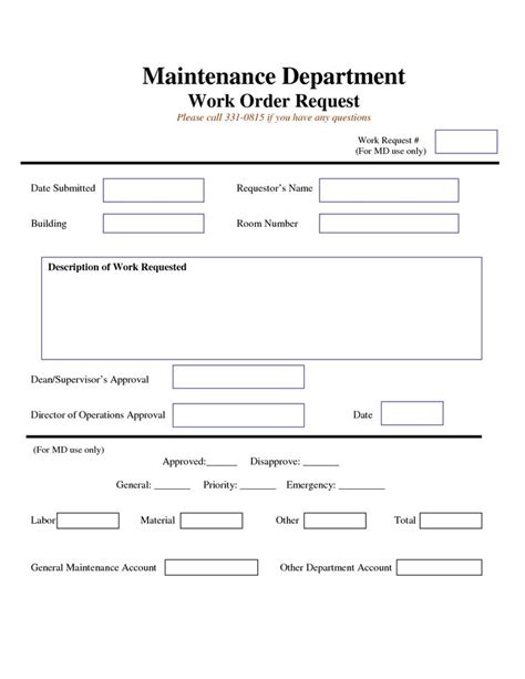 work request form template work request form maintenance work order request form