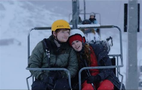 ed sheeran zoey deutch video ed sheeran unveils festive new video for perfect