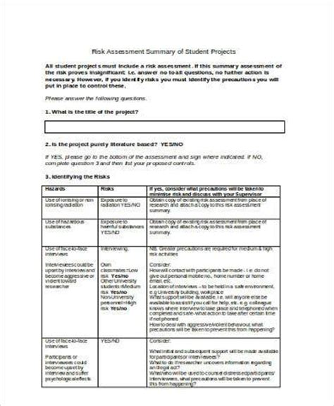 student risk assessment template sle student risk assessment forms 9 free documents