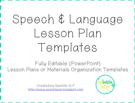 August 2014 Sparklle Slp Speech Therapy Lesson Plan Template