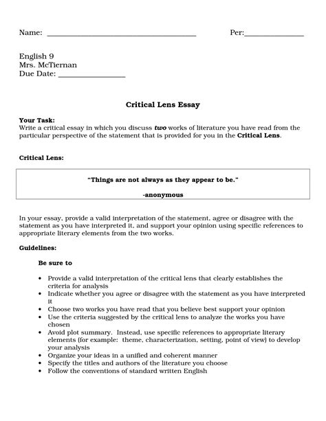 critical lens essay sle best photos of sle critical essay sle critical