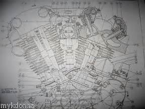 details about harley davidson 61ci knucklehead engine blueprint el hd poster print motorcycle