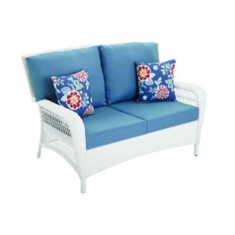 martha stewart charlottetown loveseat charlottetown white all weather wicker patio loveseat with