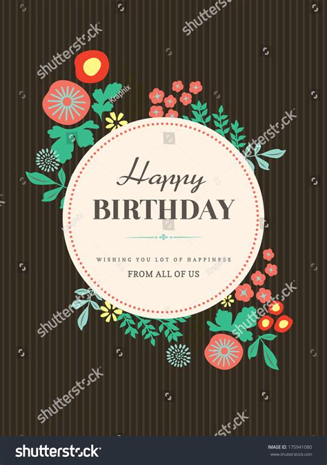 design birthday card template happy birthday card design template floral stock vector