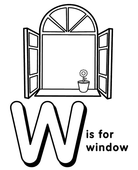 coloring page for window letter w to print and color for free
