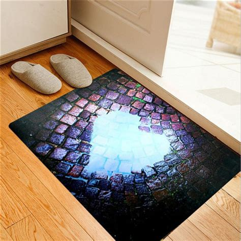 Thin Bathroom Rugs 3d Pattern Area Rug Ultra Thin Door Mat Non Slip Floor Mat Living Room Bedroom Bathroom