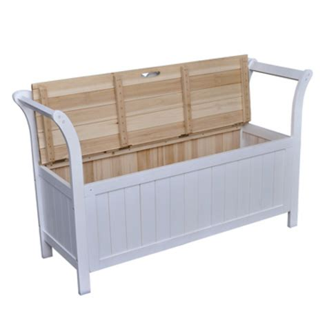 Storage Bench Seat White Wooden Bench Cabinet Seat Storage Home Chair With Armrests Ebay