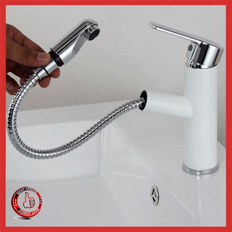 bathroom faucets white porcelain handles white color luxury brass pull out bathroom faucet ceramic