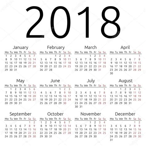 Vector Calendar 2018 Simple Vector Calendar 2018 Stock Vector 169 Dmitry