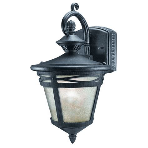 motion activated outdoor light shop heath zenith 19 62 in h wrought iron motion activated outdoor wall light at lowes