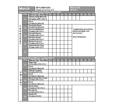template for exercise program fitness plan template sle fitness plan template 9