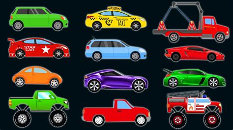 cars  trucks  kids learn colors vehicles video
