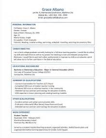 Career Objective For Fresh Graduate Sample Resume Format For Fresh Graduates Two Page Format