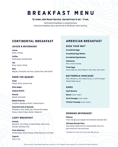Room Service Menu by Royal Caribbean Shares New Fleet Wide Room Service Menu