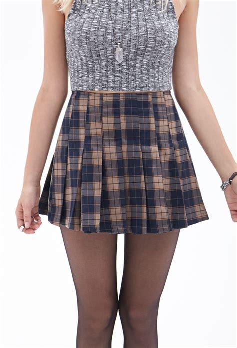 Pleated Plaid Mini Skirt lyst forever 21 pleated plaid mini skirt in blue