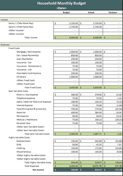 12 month budget template ms excel monthly household budget template formal word