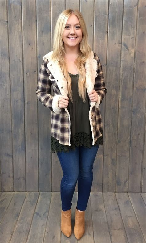 Dress Import 7453 wanderlust fur lined hooded flannel by white mapel boutique portland your local boutique