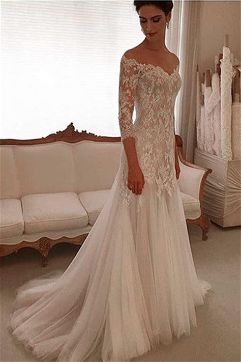 Elegant V neck Lace Wedding Dresses 2018 3/4 Sleeves Tulle Sheath Wedding Gown Sheath/ Column