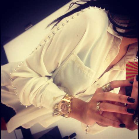 Spike 8 Blouse blouse white blouse studs spikes fashion shirt