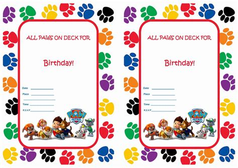 paw patrol birthday card template free paw patrol birthday invitations birthday printable