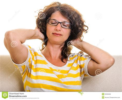 expression curl woman squeezing hair back closed eyes royalty free stock