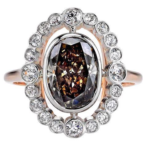 beautiful 2 41 carat brown oval cut gold platinum