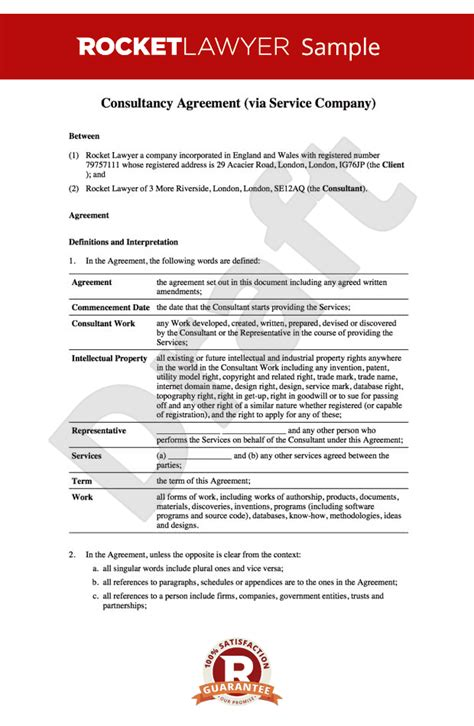 Redundant Template Consultancy Agreement Template Uk