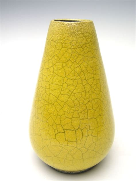 The Yellow Vase by Crafted Raku Vase Pottery Vase Ceramic Yellow Crackle