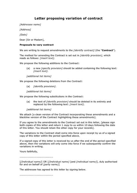 Contract Of Employment Variation Letter Letter Proposing Variation Of Contract Docular