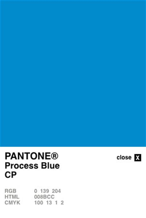 process color pantone process blue coated converted to cmyk and rgb