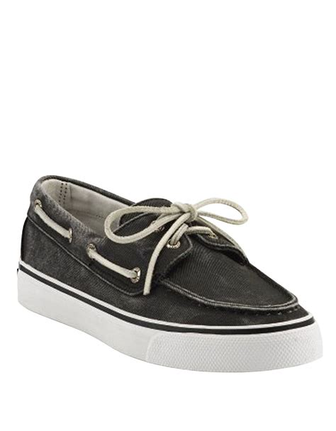 sperry top sider bahama cotton canvas boat shoes in black