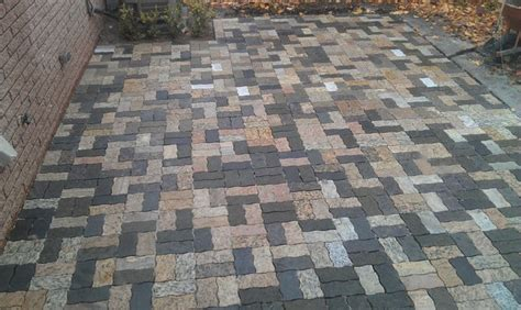 wavy rectangle granite pavers traditional patio