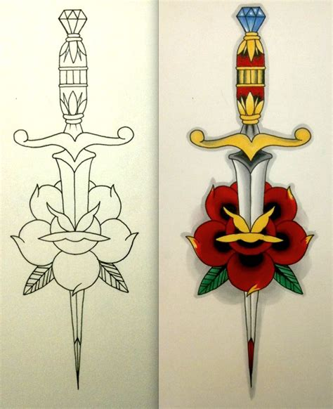 best 25 rose and dagger tattoo ideas on pinterest rose