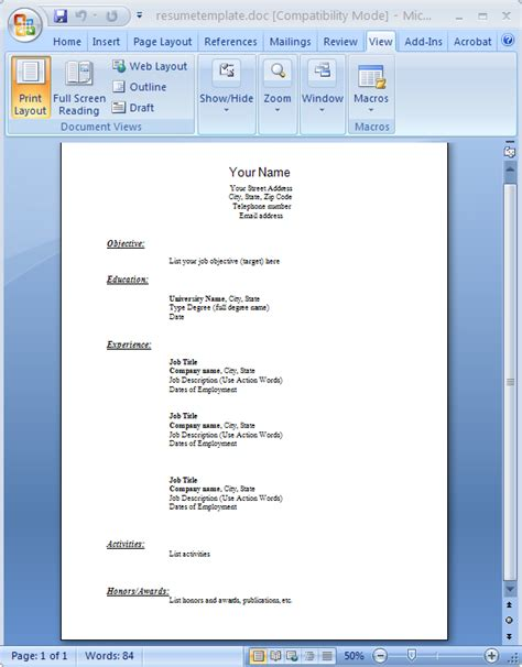 Resume Template Word File Pdf To Word Conversion Sles Easyconverter Sdk